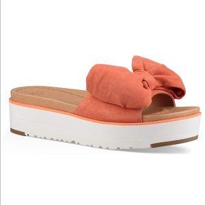 Ugg Joan Coral Suede Bow Platform Sandals size 7